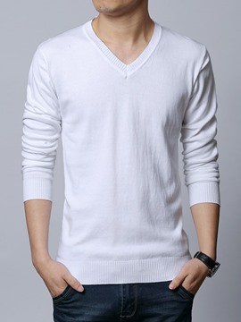 Ericdress Plain V-Neck Pullover Warm Men's Sweater