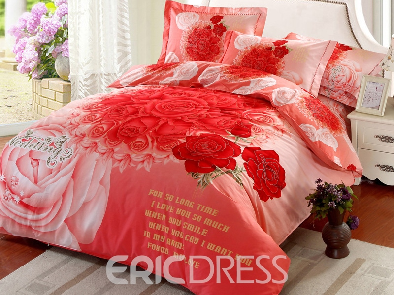 Ericdress Romantic Promise Rose Print Wedding Bedding Sets Ericdress