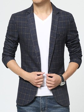 Ericdress Plaid Slim Top Men's Blazer