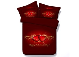 Ericdress Red Crystal Heart Print 3D Bedding Sets
