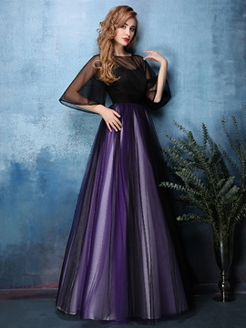Ericdress Dramatic A Line Half Sleeve Scoop Neck Floor Length Evening Dress