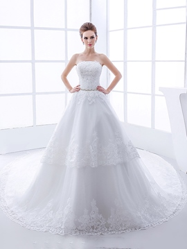 Ericdress Beautiful Appiques Beaded Strapless Wedding Dress