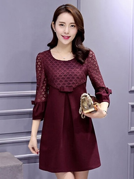 Ericdress Plain Patchwork Pleated Bowknot Casual Dress