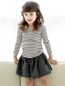 Ericdress Stripe Long Sleeve Girls T-Shirt