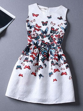 Ericdress Butterfly Print Pleated Sleeveless Casual Dress