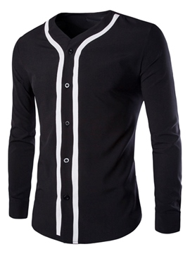 Ericdress V-Neck Long Sleeve Single-Breasted Men's Shirt