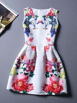 Ericdress Flower Print Casual Dress