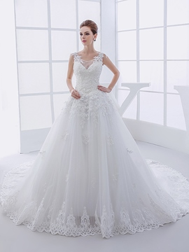 Ericdress Beautiful Appliques Scoop Wedding Dress