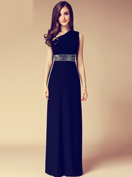 Ericdress One Shoulder Beading Pleats Evening Dress