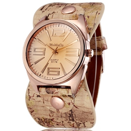 Ericdress Floral Print Belt Ladies Quartz Watch