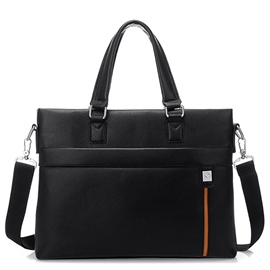 Ericdress Double Zipper Cowhide Briefcase For Men