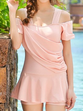 Ericdress Plain Pleated Heap Design Swimwear