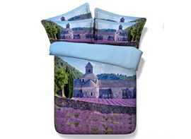 Ericdress Lavender Field Around Castle Print 3D Bedding Sets
