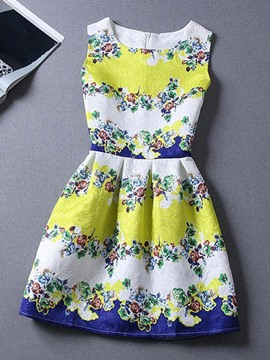 Ericdress Floral Print Pleated Casual Dress