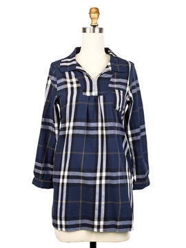 Ericdresss Plaid Lapel A-Line Casual Dress