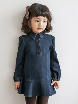 Ericdress Denim Lapel Girls Dress