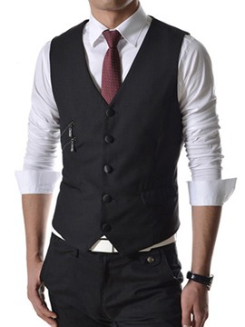 Ericdress Plain Zip Decorated Slim Men's Vest