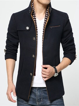 Ericdress Plain Stand Collar Men's Woolen Coat