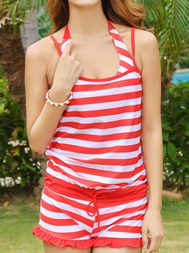 Ericdress Stripe Three-Piece Sweet Swimwear