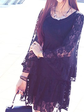 Ericdress Plain Flare Sleeve Lace Dress