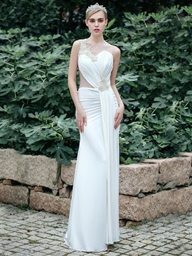 Ericdress Beautiful Jewel Pearls Sheath Wedding Dress