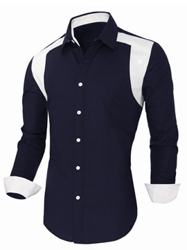 Ericdress Color Block Single-Breasted Casual Men's Shirt