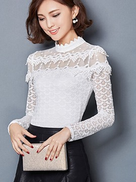Ericdress Slim Lace See-Through Stand Collar Blouse