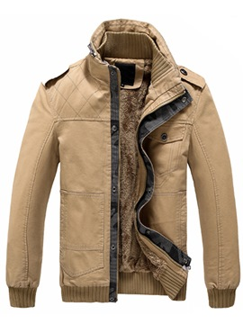Ericdress Patched Stand Collar Thicken Men's Jacket