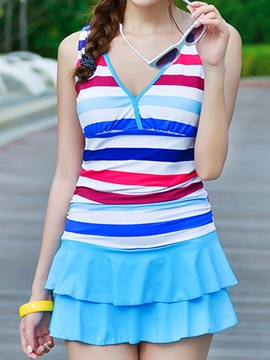 Ericdress Stripe Sweet Pleated Swimwear