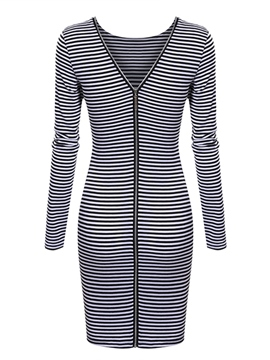 Ericdress Stripe Zipper Sheath Dress