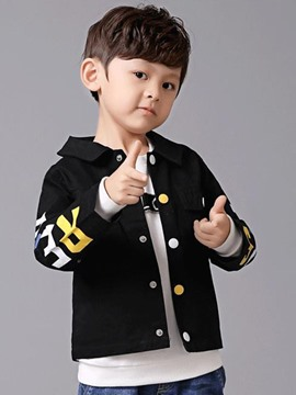 Ericdress Color Block Letter Print Boys Coat