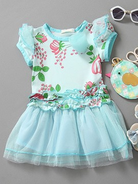 Ericdress Floral Print Patchwork Girls Dress