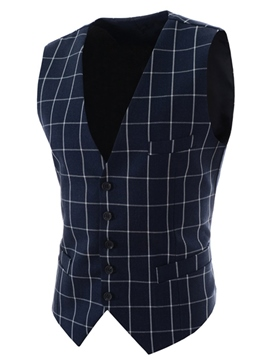 Ericdress Plaid Slim Thin Men's Vest