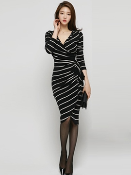 Ericdress Stripe V-Neck Sheath Dress
