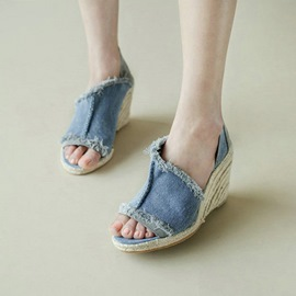 Ericdress Roman Denim Knitting Wedge Sandals
