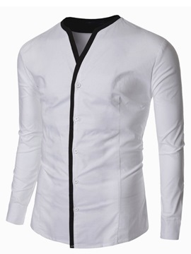 Ericdress Long Sleeve Collarless Slim Men's Shirt