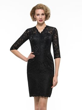 Ericdress Elegant V Neck Lace Mother Of The Bride Dress