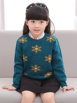 Ericdress Round Neck All-Matched Girls Sweater