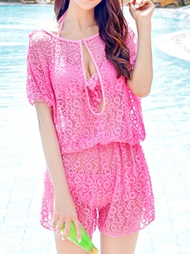 Ericdress Plain Cute Lace Swimwear Suit