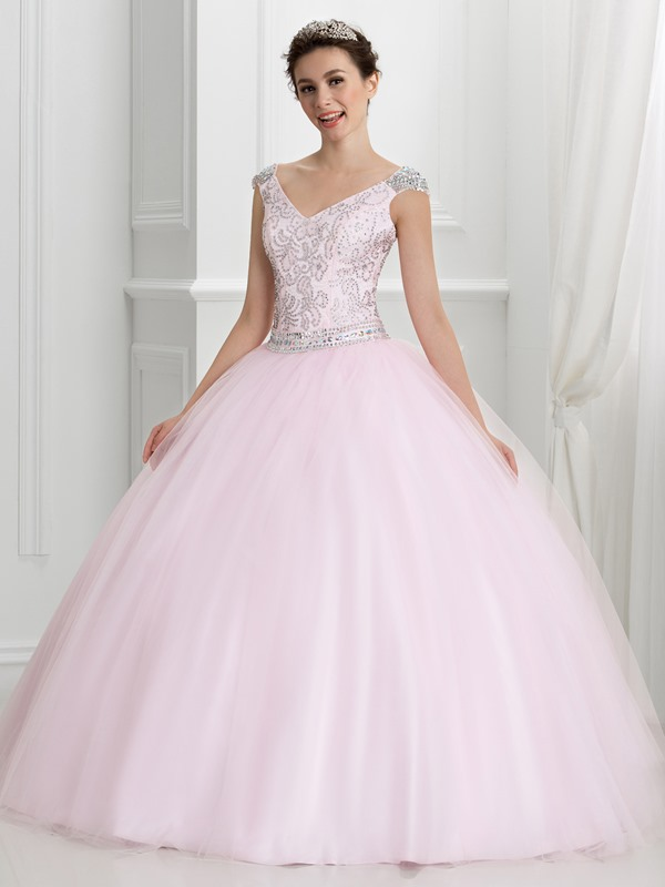 Ericdress V-Neck Cap Sleeves Beading Quinceanera Dress
