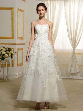 Ericdress Sweet Appliques Ankle Length A Line Wedding Dress