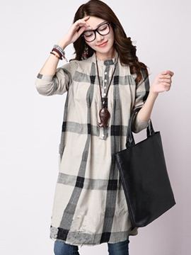 Ericdress Plaid Loose Single-Breasted Blouse