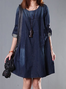 Ericdress Plain A-Line Denim Casual Dress