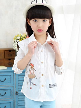 Ericdress Lapel Print Girls Shirt