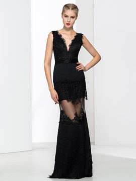 Ericdress Sheath V-Neck Appliques Tassel Evening Dress