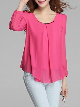 Ericdress Plain Chiffon Plus Size Blouse