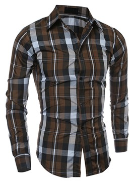 Ericdress Plaid Slim Vogue Men's Shirt