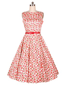 Ericdress Strawberry Print Belt Vintage Casual Dress