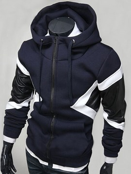 Ericdress Color Block PU Patched Men's Hoodie