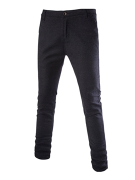 Ericdress Plain Slim Mid-Waist Men's Pants
